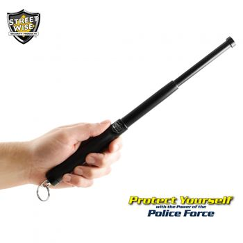 Police Force 12 Inch Expandable Steel Baton w/Key Ring
