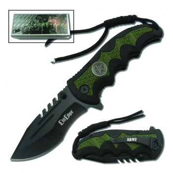 Navy Folding Knife Assisted Open w/Belt Clip & Paracord