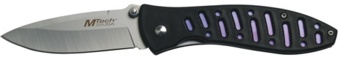 black and purple folding knife