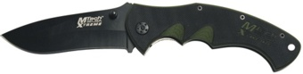 black and green folding knife