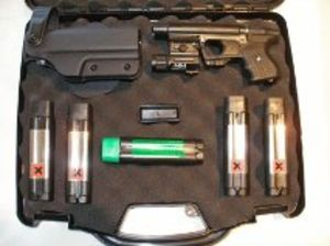 Ultimate Black JPX Personal Defense Bundle with Laser Tactical Light  OC Spray Cartridges and Paladin Holster